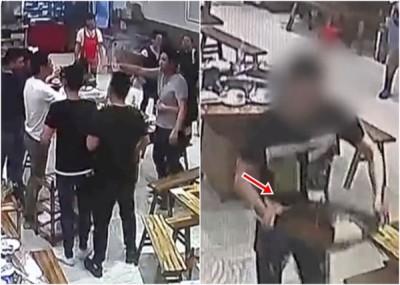 区区席顾客因为琐事争吵并吸引肢体冲突,发男子捧起热汤泼向对方。