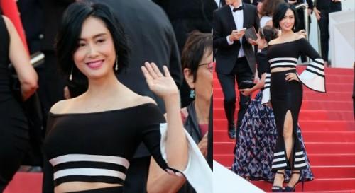 朱茵以一身两截式紧身裙装惊艷亮相!