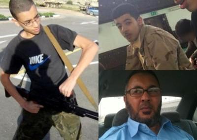 阿贝迪(右上)的弟弟哈希姆(左)和父亲拉马丹(右下)涉案,在利比亚被捕。