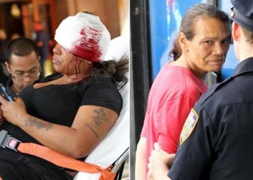 马丁妮(图左)被刺后血流满面。(图右)犯案者被警员拘捕。(互联网图片)