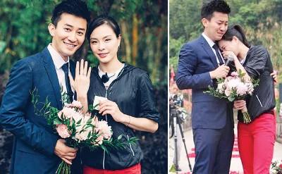 (左)每当承受求婚后,吴敏霞以及男友张效诚幸福合照。(右)吴敏霞感动的落泪投在男友怀抱着。