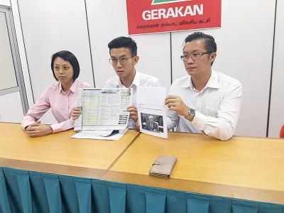 """(左起)黄婉娴,黄志毅及许保忠对于2017年真的是行动党在槟州执政""""最后一年""""的言论感到疑惑。"""