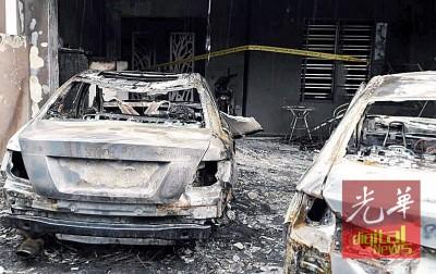 大火迅速蔓延到停泊在车房内的4部交通工具,100%为烧毁。