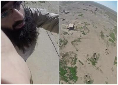 恐怖分子入镜不自知(左图),遥控机拍下了地方地貌。
