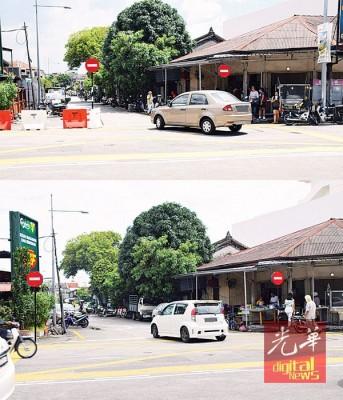 改为单向道的路段早已被移走设置在路中央的警示牌和路障,但还是有轿车违例右转。