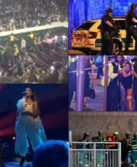 Ariana Grande(左下)演唱会(左上)发生爆炸,造成严重伤亡。