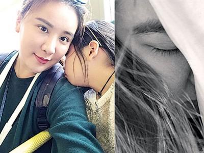 小祯被《犀利人妻》触动心底的伤哭整晚(右图),但为女儿Emma(左图右)仍努力强撑。