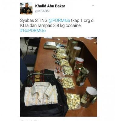 全国总警长卡立于推特发文表扬警方。