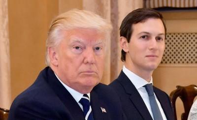 特朗普(左)回国后不久为女婿库斯纳(右)辩论。