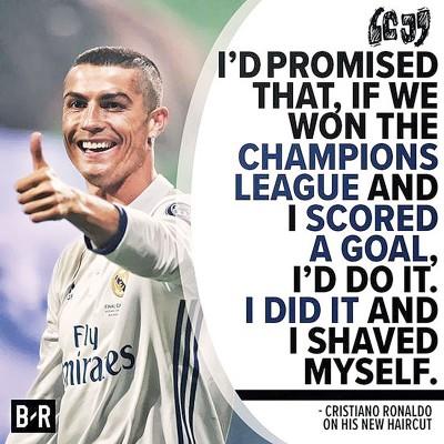 在夺得欧冠杯,C罗纳多遵守承诺剪了个圆寸发型。