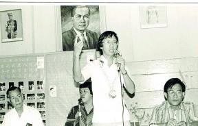 """在竞选讲座会上,许子根承诺将体现""""崔耀才精神""""。"""