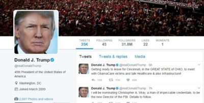特朗普在推特的发文属官方言论
