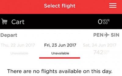 上网预定机票显示周二亚航飞往新加坡机票则已售罄。