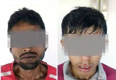 2名巫裔男子于斋戒月在棕榈园内吸毒。