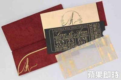 安以轩将台北婚宴的喜帖,特地设计成电影票券。