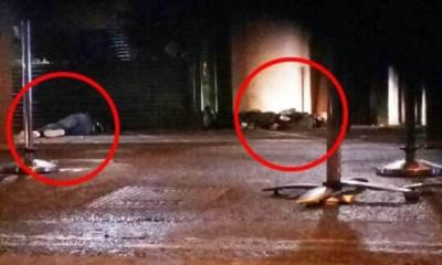 有指其中2名嫌犯中枪,倒卧地上(红圈示)。