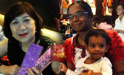"""吕彩娥在""""癌友摇滚!""""游戏环节赢得一些小礼品。右为拉达抱着苏鲁蒂接受媒体访问。"""