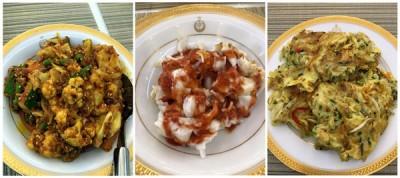柔王后拉惹查丽苏菲雅分享儿时爱吃美食和家传菜,即娘惹阿查(左起)、猪肠粉及芙蓉蛋,网民热议之余,希望王后分享自家的祖传食谱。