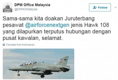 """可揆办公室通过推特呼吁全民啊空军""""鹰式108""""战机祈祷。"""