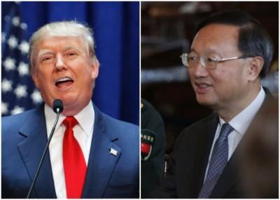 杨洁篪(右图)至白宫和特朗普(左图)见面。