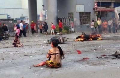 桂林校园爆炸案中,产生伤者叫炸掉至衣衫尽碎。