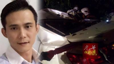 陈国雄所驾驶的轿车疑失控撞向大树。