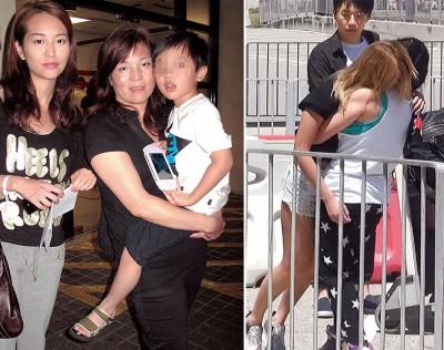(左)林妈妈及林雅诗的11岁儿子,都为她担心,出事后不停致电催她回港。 (右)在大马出事,不敢逗留的林雅诗急返香港,但一出机场即晕倒。