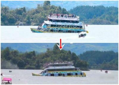 产生部分拍下船只沉没的情景。