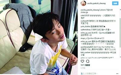 张柏芝与粉丝分享儿子Lucas近况。