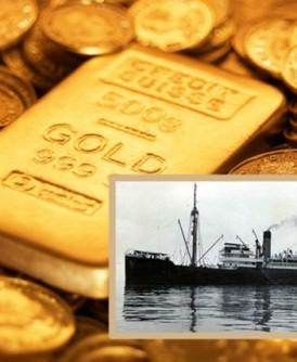 寻宝猎人在明登号(小图)残骸上找到大量黄金。(资料图片/互联网黑白图片)