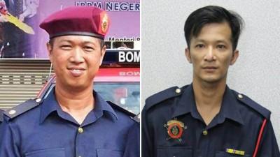 (左)郭国俊生前为吉中马莫义消队队长。(右)死者黎国才。