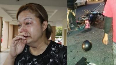黎美清:父母已坦然接受国才离世的事实。(右)死者的摩托车与一辆迈薇轿车相撞后,毁坏不堪。