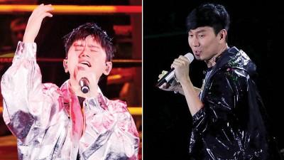 张杰(左)跟林俊杰(右)以现场献歌,啊拳王争霸战掀起另一道高潮。