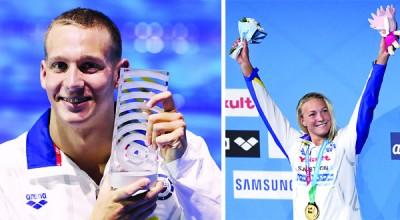 美国新飞鱼德雷塞尔(左)和瑞典名将舍斯特伦(右)分别获得最佳男女运动员称号。