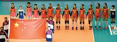 中国队球员在开赛仪式上。