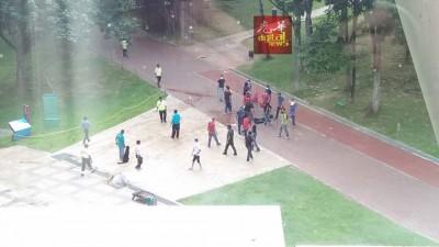 警方人员乔装成示威暴民在公园燃烧爆竹捣乱。