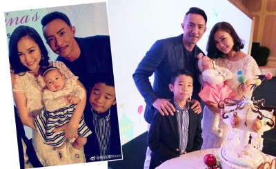 谢安琪(左)和张继聪为爱女办百日宴。