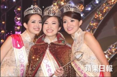 2009年港姐季军熊颖诗(左起)、冠军刘倩婷、亚季李姿敏。