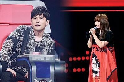 (左)周杰伦(右)张惠妹曾提名金曲奖的歌曲《母系社会》的作曲人颜力妃也来到《新歌声》。