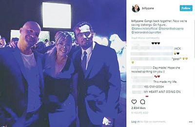(右起)李奥纳多、凯特温斯蕾、比利赞恩最近在公益晚会上团聚。