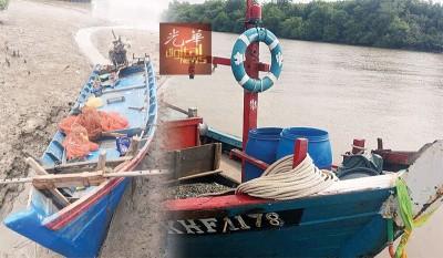 大马海事执法机构吉打港口执法组所扣留的推网渔船与捕蛤渔船。