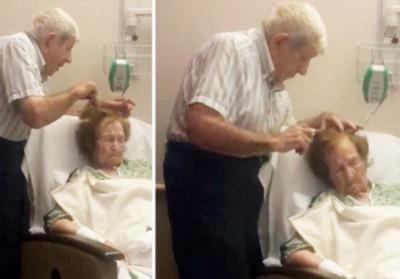 他非常体贴地为臥病在床的太太梳理头发,令万千网民动容。