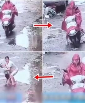 许女驾驶电单车撞倒并辗过3岁男童后,未有理会,开车走时再次辗过男童。(网上图片)