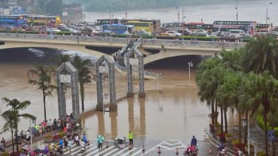 湖南益阳市资阳区新桥河镇八一村被洪水淹没。(新华社照片)