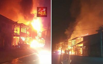 玲珑大街周一凌晨发生大火,8间战前双层老店遭火魔光顾,一片火海。