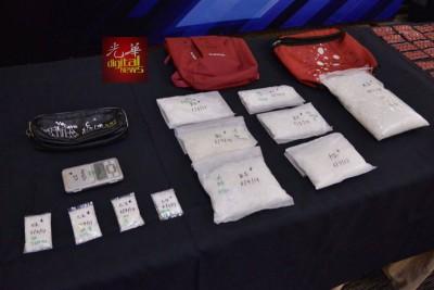 警起获的各类毒品。
