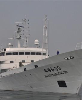 """中国近年频频进行海洋勘探,图为海洋调查船""""向阳红09""""。"""