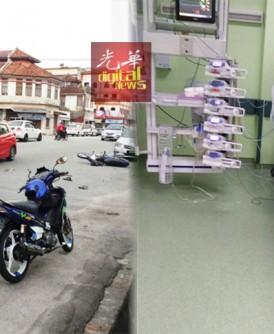 (左图)施淋玮发生车祸后摔跌马路上陷入昏迷,警方寻找其身份证以便通知其家人。(右图)施淋玮目前在太平医院加护病房做深切治疗。(照片取自网络)