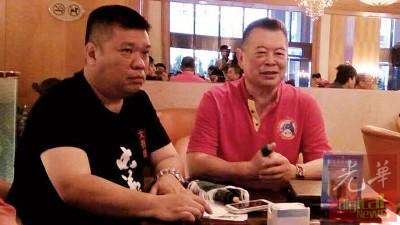 刘会进(右)当孙艪华陪同下,受大马媒体联访,外希望洪门于本国为不过取得正名,盖洪门是大家正派。