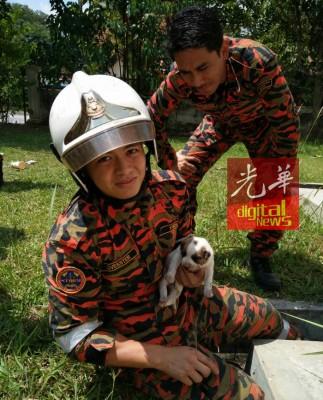 消拯员对小流浪狗流露怜悯之情。